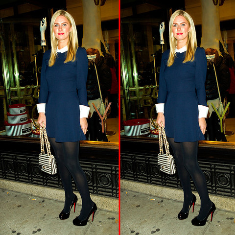 Can you spot the THREE differences in the Nicky Hilton photos?