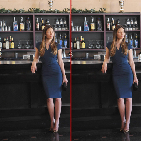 Can you spot the THREE differences in the Jessica Biel photos?