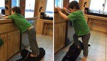 Sarah Palin -- Blasted for Pic of Trig Standing on a Dog