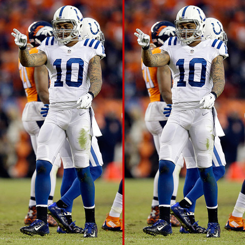 Can you spot the THREE differences in the Donte Moncrief photos?