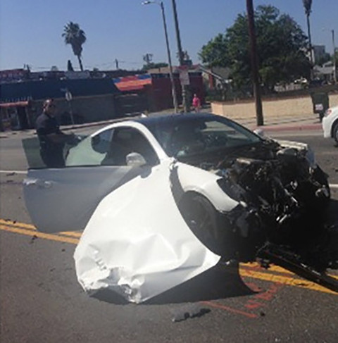 Floyd Mayweather was involved in a three-car collision. His three children were him -- no one was injured.
