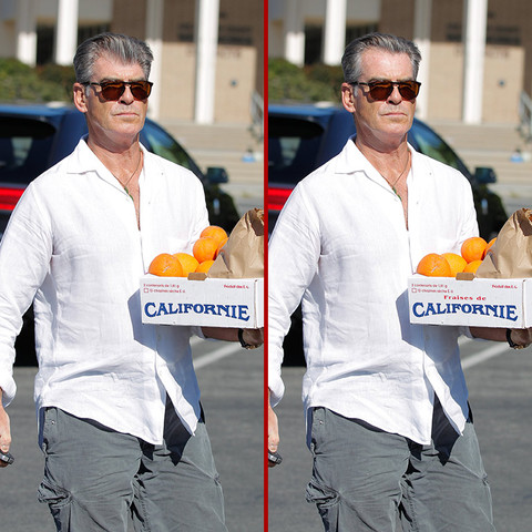 Can you spot the THREE differences in the Pierce Brosnan photos?
