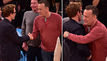 Tom Hanks -- MOVIE CO-STAR REUNION ... At Crappy Knicks Game