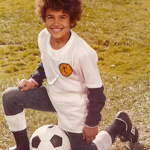 Before this sporty kid had Hollywood begging for moore he was just another cool kid posing for his soccer photos in Northern California.