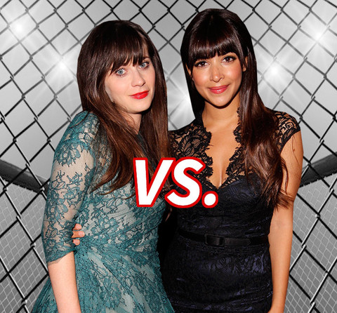 Zooey Deschanel (35) vs. Hannah Simone (34) for the cutest girl on New Girl.