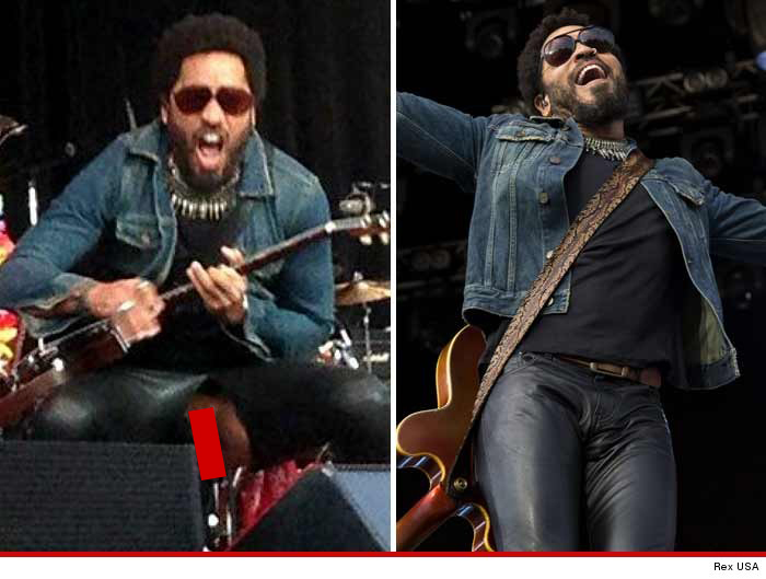 Lenny Kravitz -- Exposes Junk  After Leather Pants Rip -2178