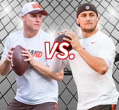 Battle of the Browns' Quarterbacks! Josh McCown (36) vs. Johnny Manziel (22)
