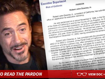 Robert Downey Jr. -- Governor Grants Pardon for Drug Conviction