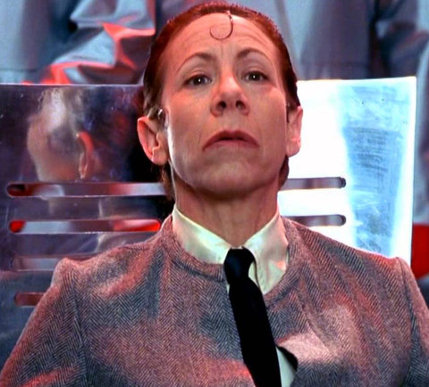 """Mindy Sterling is best known for playing the evil screaming sidekick Frau Farbissina -- photographed here deep inside their undergroud lair -- in the 1997 comedy """"Austin Powers: International Man of Mystery."""""""