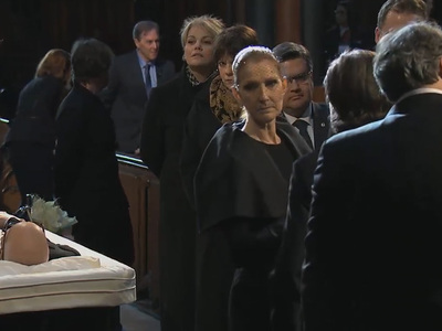 Celine Dion Greets Mourners at Husband's Public Viewing