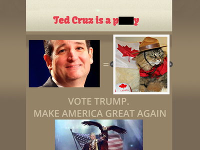 Ted Cruz Is a P***y Website Goes Live ... Thanks for the Idea, Donald!