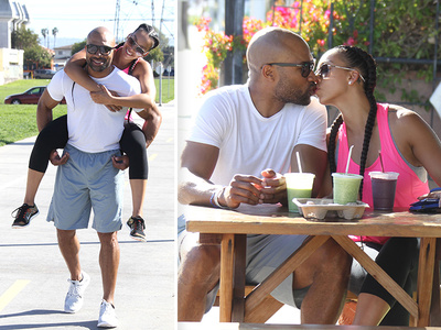 Derek Fisher -- Super PDA with Gloria Govan ... We're Not Afraid!!! (PHOTO)