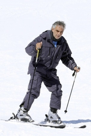 Andrea Bocelli -- Hits the Slopes ... Look Out Below!