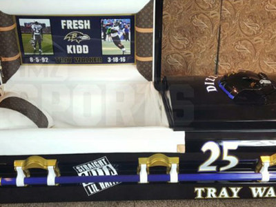 NFL's Tray Walker -- Custom Louis Vuitton Casket ... With Ravens Helmet