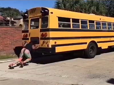 Ex-NFL Player Mike Lockley -- Training By PUSHING A BUS!!!! (VIDEO)