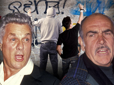 Tony Curtis & Sean Connery -- Grandsons Tagged In Graffiti Crime