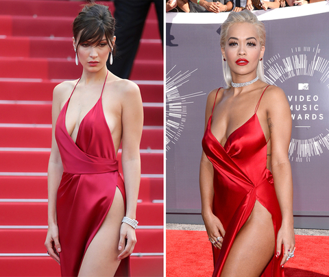 Ladies in Red -- Bella Hadid (19) vs. Rita Ora (25)