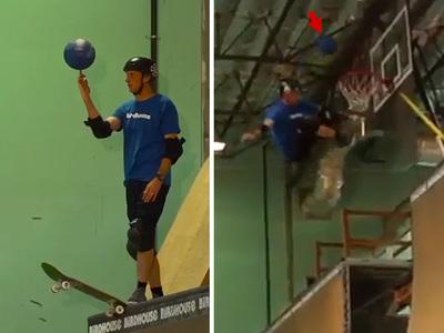 Tony Hawk -- Skate Ramp + Basketball = Awesome (VIDEO)