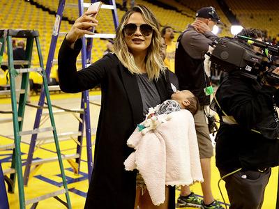 Chrissy Teigen -- Baby's First NBA Playoff Game ... Kinda