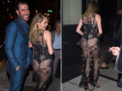 Kate Upton -- Ass Out In NYC ... See-Through Dress with MLB Fiance (PHOTOS)