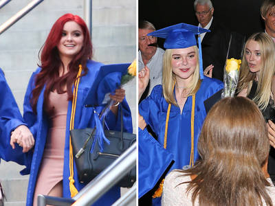 Ariel Winter & Elle Fanning -- Red, Blonde & Blue for Graduation Day (PHOTOS)