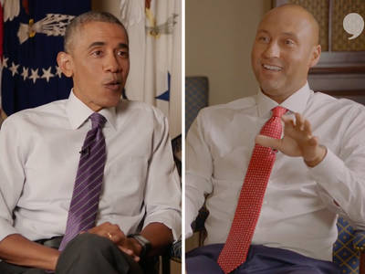 Derek Jeter -- Real Talk from Obama ... 'For a Baseball Player, You Were Old!' (VIDEO)
