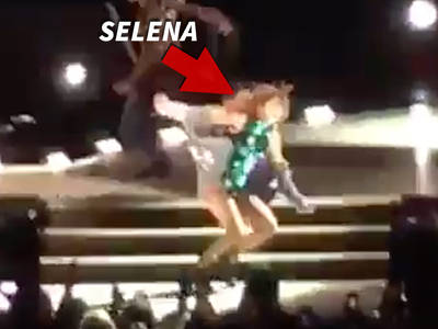 Selena Gomez -- Anything Justin Does, I Can Do Better ... Tumbles Hard Onstage (VIDEO)