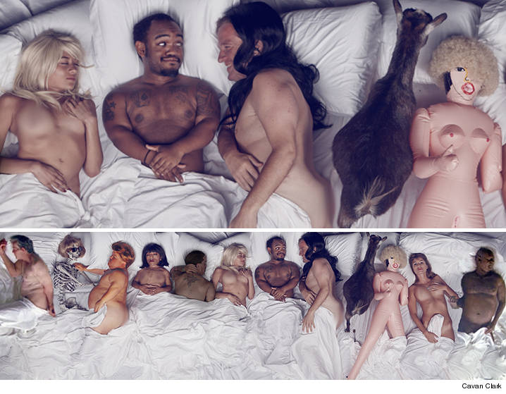 Kanye Wests Naked Homage Just Got Weirder Courtesy Of Showman Jeff Beacher Who Re Shot The Image From The Famous Music Video Complete With