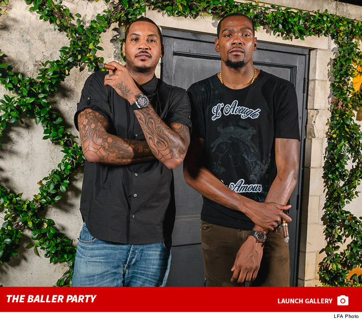 adb8bf6b05a Kevin Durant and Carmelo Anthony sipped vino and puffed cigars at an  Olympics send-off party Monday night in Houston ... oh