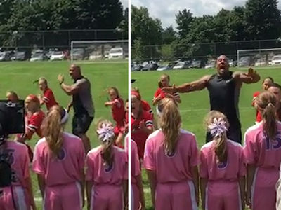 The Rock -- Leads Girls Soccer Team ... In Maori War Dance (VIDEO)