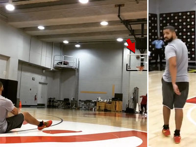 Drake -- Hits Half-Court Shot ... From His Back!!! (VIDEO)