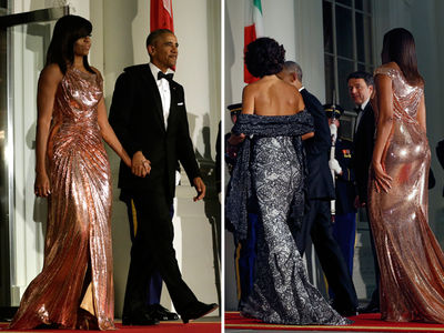 Michelle Obama -- $12k Versace for Final State Dinner (PHOTO GALLERY + VIDEO)