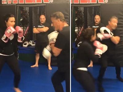 Demi Lovato & Sylvester Stallone -- Body Say Jab, Jab!! (VIDEO)