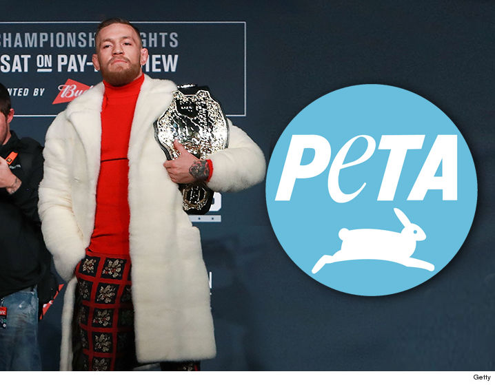 67f67c6358b Eddie Alvarez isn t the only one taking shots at Conor McGregor ...  cause  PETA is calling out the MMA superstar over the flashy mink coat he wore  during ...
