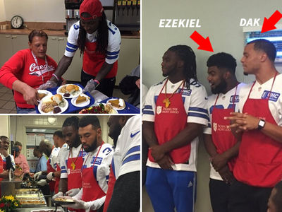 Ezekiel Elliott & Dak Prescott -- How Are We Celebrating?? ... Serving Meals at Salvation Army (PHOTO GALLERY + VIDEO)