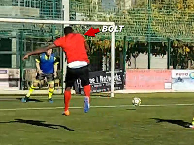 Usain Bolt -- Blows Open Shots On Goal ... At French Soccer Practice (VIDEO)