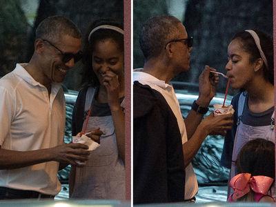Obama and Malia Have Close Shave (PHOTOS)