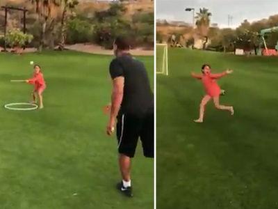 Alex Rodriguez's Daughter Shows Off Bat Flip (VIDEO)
