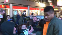 Giannis Antetokounmpo Gets Off Team Bus to Celebrate Game-Winner with Greek Fans! (VIDEO)
