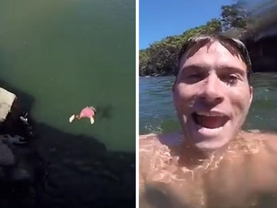 Scott Eastwood Illegally Dives off Cliff in Australia (VIDEO)