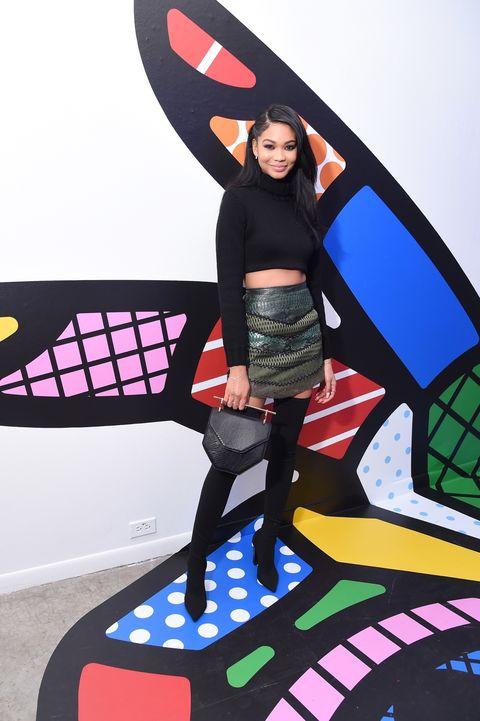 Model Chanel Iman attends Vogue + LIFEWTR Party at Super Bowl LI