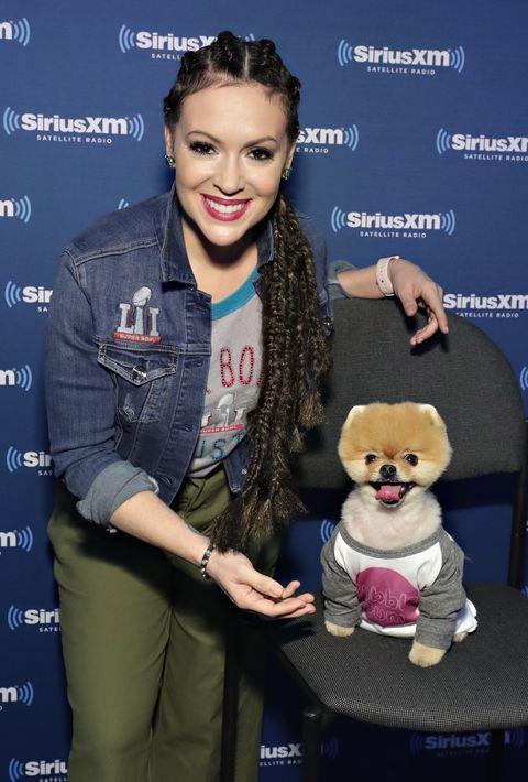 Alyssa Milano and Jiffpom visit the SiriusXM set at Super Bowl LI Radio Row at the George R. Brown Convention Center