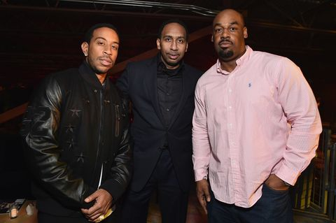 (L-R) Rapper Ludacris, ESPN commentator Stephen A. Smith and former NFL player Donovan McNabb attend the 13th Annual ESPN