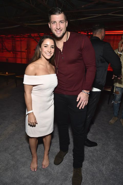 Olympic gymnast Aly Raisman (L) and professional baseball player Tim Tebow attend the 13th Annual ESPN The Party