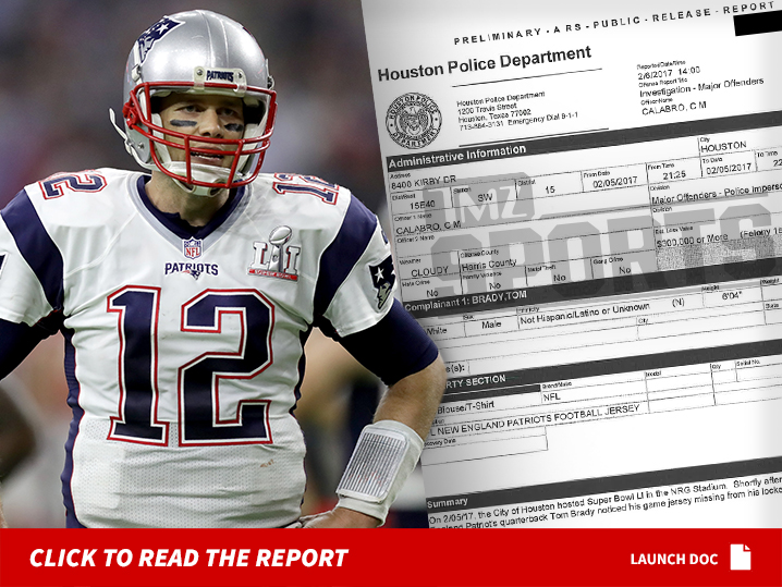 Tom Brady Police Report ... Cops Value Missing Jersey at  500 8adefe10c