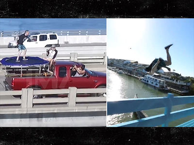 Steve-O Jumps Off a Bridge From a Moving Trampoline (VIDEO)