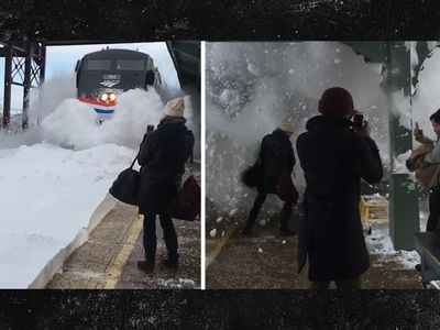 Amtrak Train Blasts Wall of Snow at Waiting Commuters (VIDEO)
