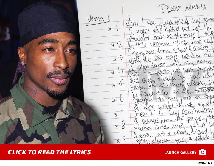 Tupacs Handwritten Dear Mama Lyrics Up For Sale Tmzcom