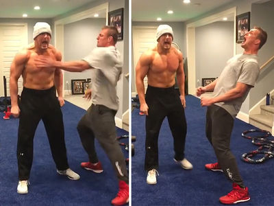 Rob Gronkowski Gives Insane Pep Talk to Mojo Rawley to Gear Up for WrestleMania (VIDEO)