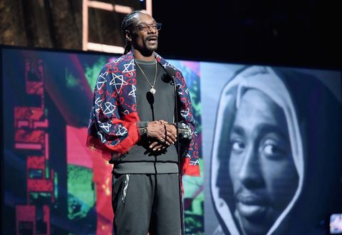 Presenter Snoop Dogg speaks about 2017 Inductee Tupac Shakur onstage at the 32nd Annual Rock & Roll Hall Of Fame Induction Ceremony at Barclays Center.